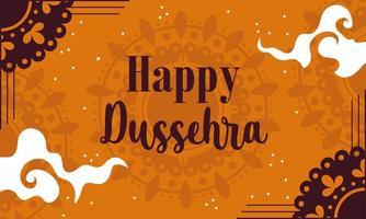 Happy Dussehra festival of India orange design  vector
