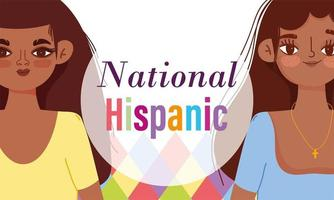 National Hispanic heritage month, young women cartoon vector