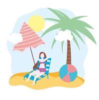 mujer en la playa, en, silla, con, paraguas, y, pelota vector