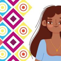 Young woman Hispanic culture cartoon portrait vector