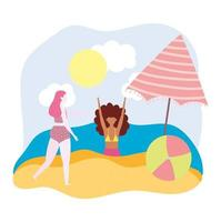 Funny girls with beach ball and umbrella
