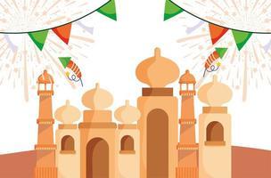 diseño de celebración de fuegos artificiales y banderines del taj mahal vector