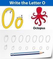 Letra o trazando la hoja de trabajo del alfabeto con pulpo vector