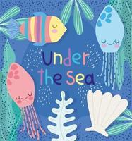 Seaweed shellfish marine life scene vector