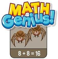 Diseño de flashcard de matemáticas para sumar números.