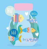 Pastel cartoon fish greeting template design