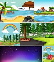 Six different scenes in nature setting