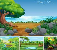 Four nature scenes of forest and swamp vector