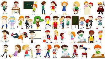 conjunto de dibujos animados de niños lindos