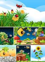 Set of different insects living in the garden vector