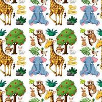 Wild cute animals and tree seamless pattern