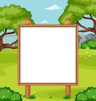 Blank wooden frame in nature park