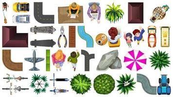 Set of aerial view house decoration elements
