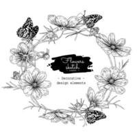 Cosmos flower drawings