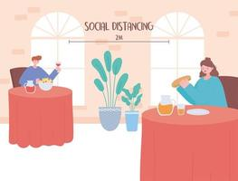 People eating, and social distancing in a restaurant