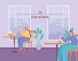 gente comiendo y distanciamiento social en un restaurante