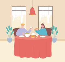 Couple eating in a restaurant vector