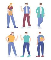Set of people wearing face masks vector