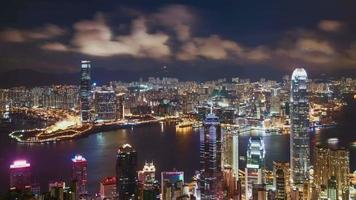 Timelapse of Hong Kong skyline at night, China video