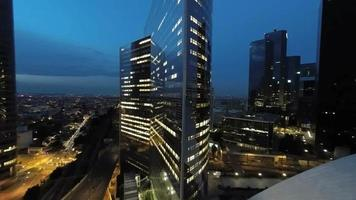 city and skyline buildings at night. aerial view