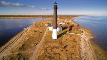 The brown cylindrical lighthouse in Saaremaa