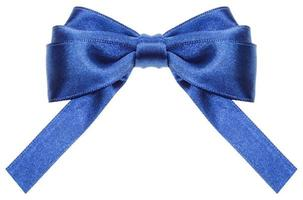 symmetric blue ribbon bow with square cut ends photo