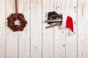 Christmas wreath on wooden wall