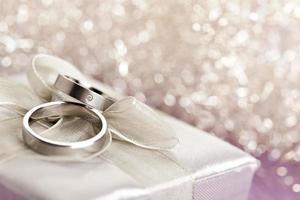 Wedding rings on silver giftbox