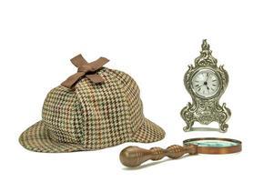 Detective Deerstalker Cap, Vintage Magnifying Glass And Old Clock
