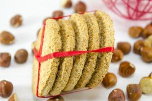 Bunch of integral cookies tied with a ribbon photo
