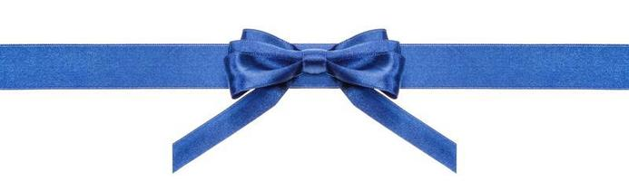 blue ribbon and symmetric bow with vertical ends photo