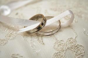 Two wedding rings on lace with a ribbon photo