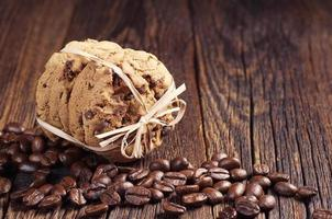 Chocolate cookies and coffee beans photo