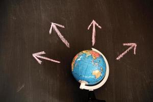 Globus mit Wegweiser