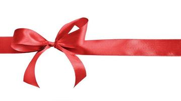 Gift bow made out of red satin photo