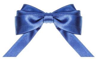 symmetric blue bow with horizontal cut ends photo