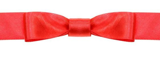 symmetrical red bow knot on wide silk ribbon photo