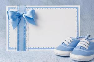Greeting children form with booties photo