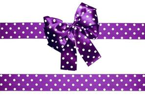 violet bow and ribbon with white polka dots from silk