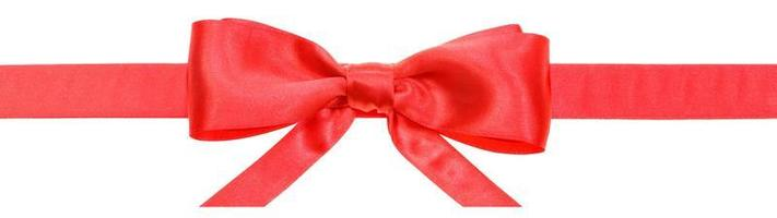 red ribbon and real bow with horizontal cut ends photo
