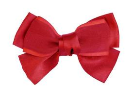 red of ribbon bow on an isolated white background photo
