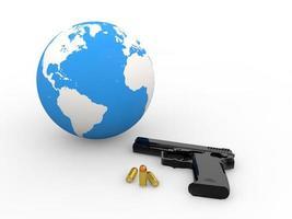 3d earth globe and handgun photo