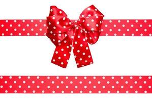 red bow and ribbon with white polka dots from silk