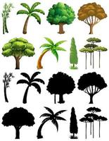 Set of plants and trees with silhouettes