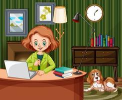 Woman working on computer at home vector