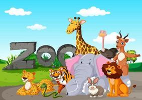animales del zoológico en el fondo de la naturaleza salvaje