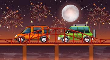 escena nocturna del río con fuegos artificiales de celebración