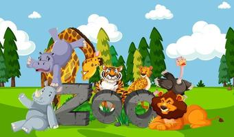 Zoo animals in the wild nature