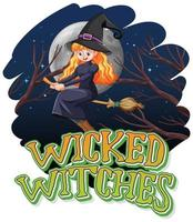Wicked witches on a night background
