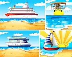 Summer beach background set vector